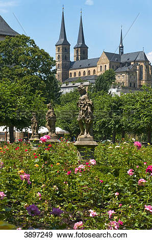 Stock Photograph of Garden of the residence and Michaelskirche.