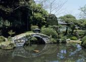 Stock Image of Japanese Garden of Hozumike Residence, Takahagi.