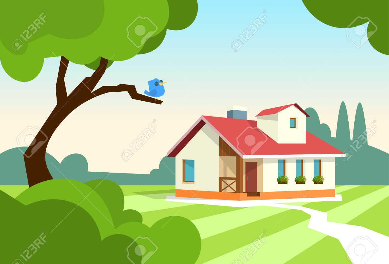 Big Modern House Residence Estate With Garden Flat Vector.