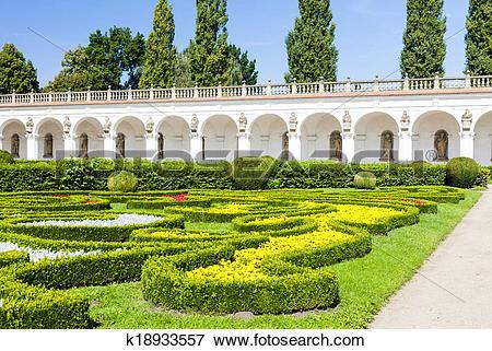 Picture of Flower garden of Kromeriz Palace, Czech Republic.