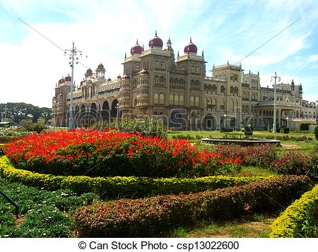 Stock Photography of Garden in Indian Palace of Mysore.