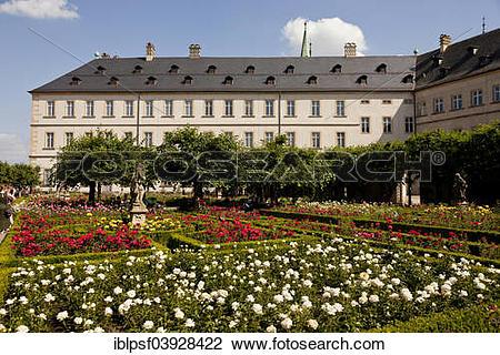 "Stock Photo of ""Rose garden of the Neue Residenz, historic centre."