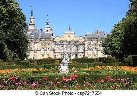 Stock Photo of Royal Palace and gardens of La Granja de San.