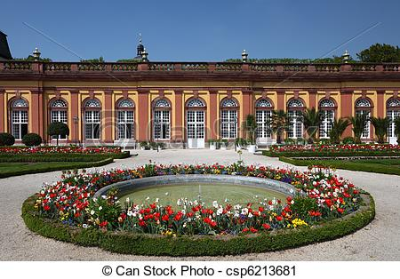 Stock Photography of Fountain in the garden of Weilburg Castle.