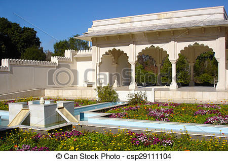 Stock Photography of Indian Char Bagh Garden in Hamilton Gardens.