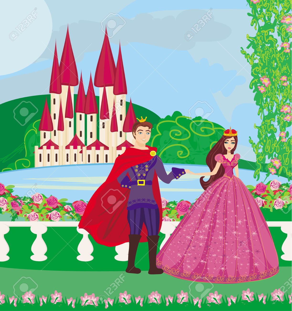 The Princess And The Prince In A Beautiful Garden Royalty Free.