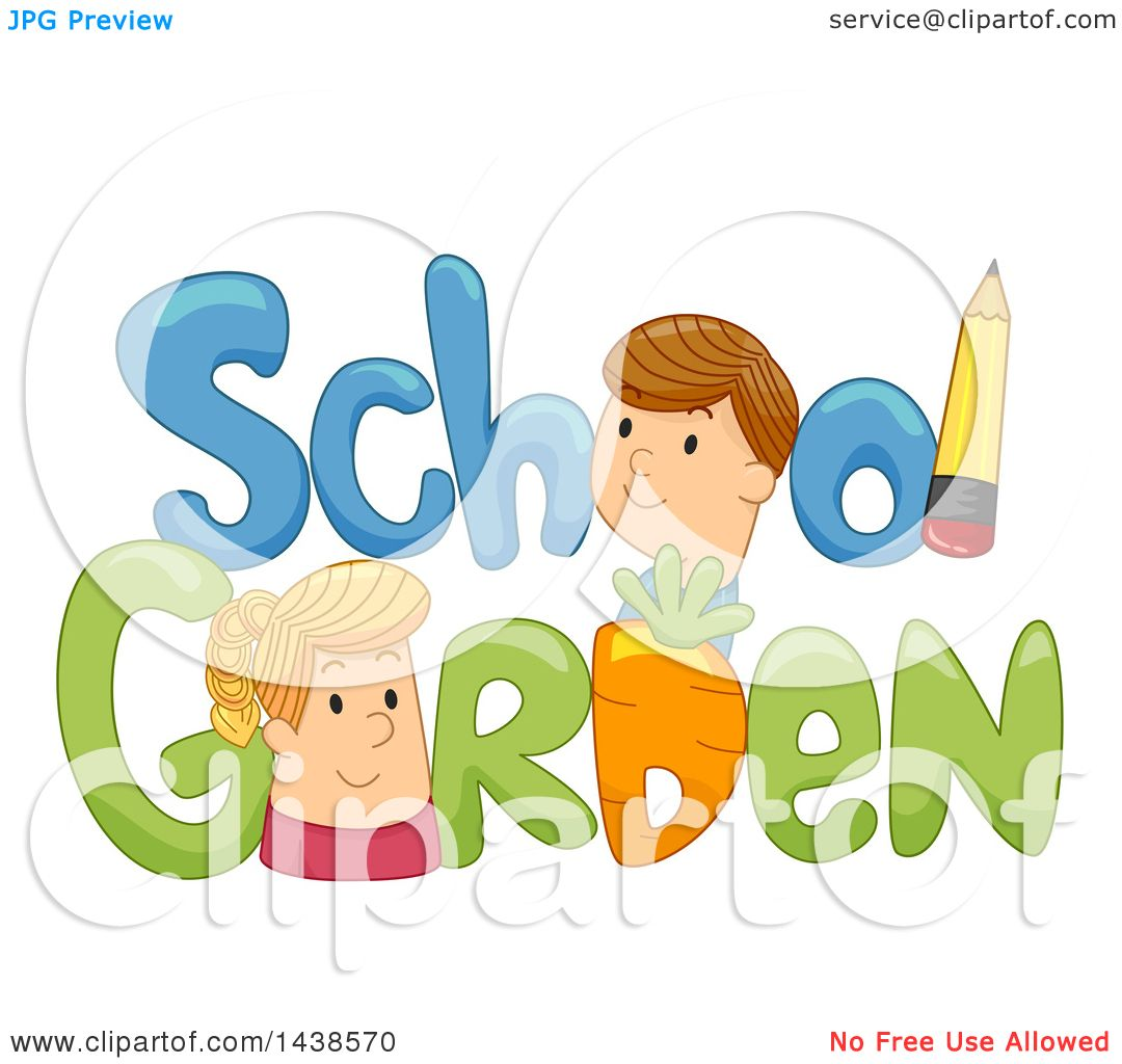 Clipart of the Words School Garden Decorated with a Pencil and a.