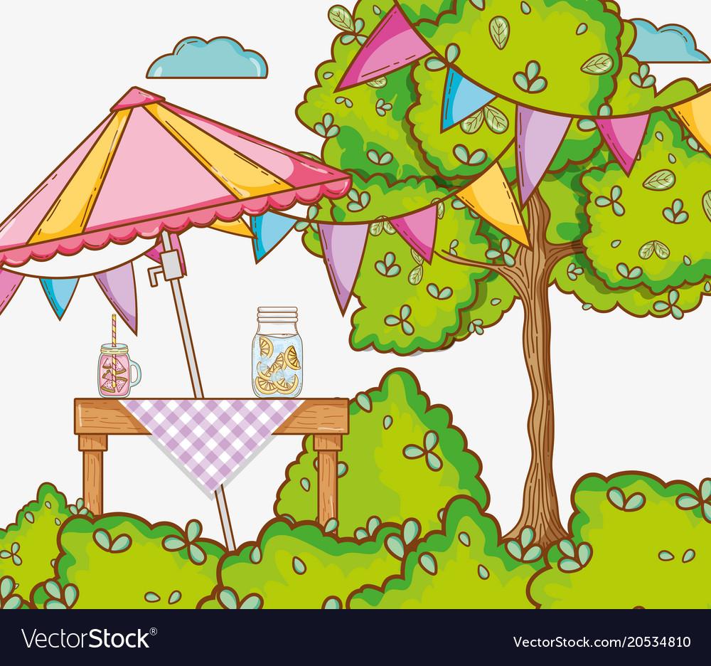Garden party cartoons.