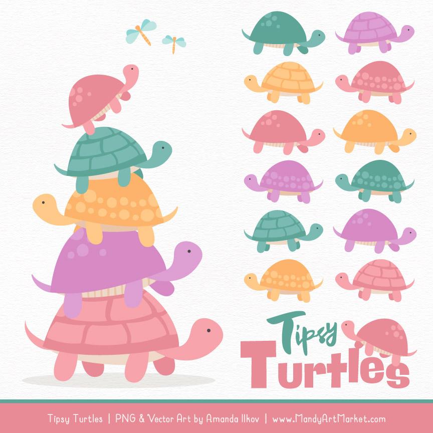 Garden Party Turtle Stack Clipart Vectors.