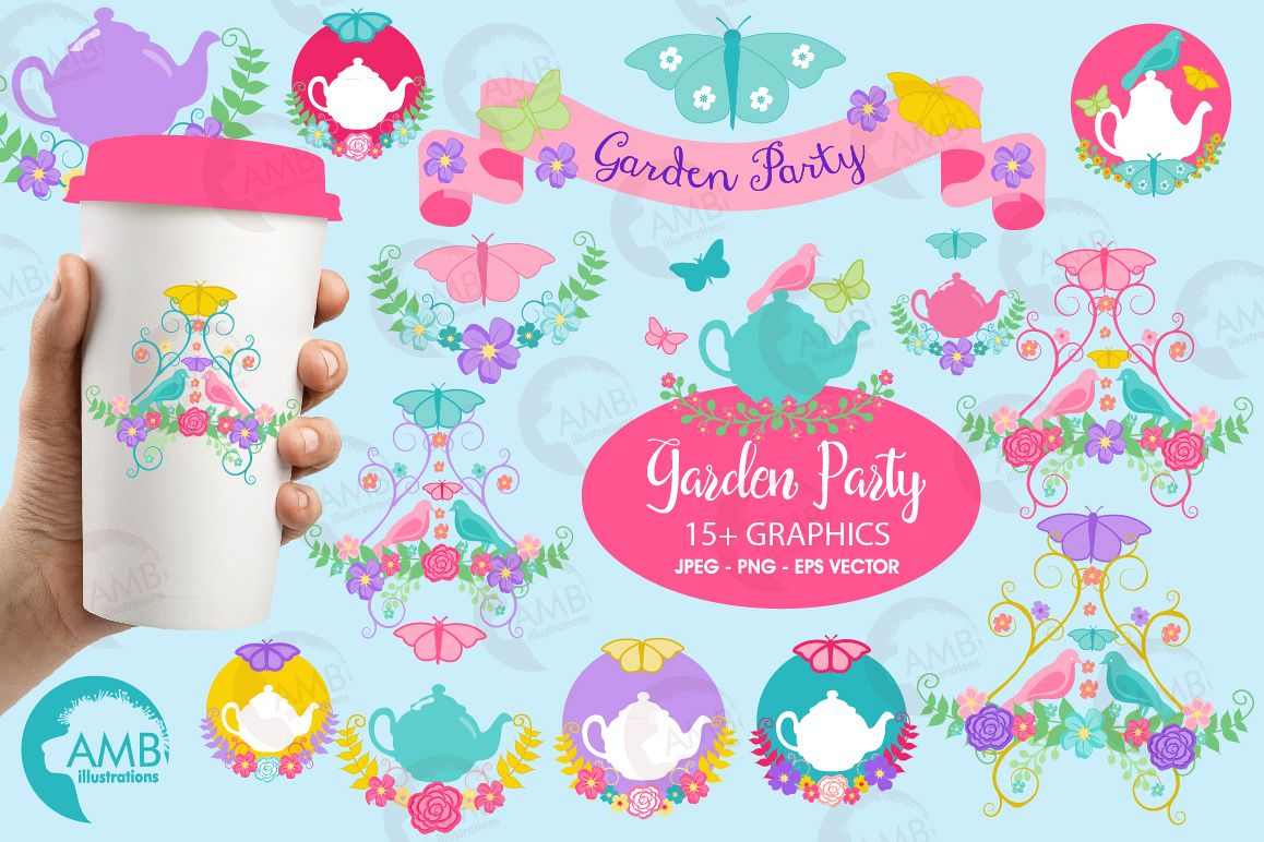 Country floral clipart, Garden party clipart, teapot clipart, graphics,  illustrations AMB.