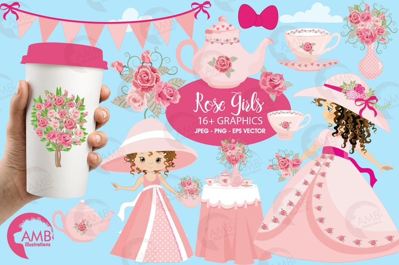 Princess Clipart, Garden Party in Pink Clipart, Girl Party Clip Art, Floral  Party Clipart, Girl Party, Commercial Use, AMB.
