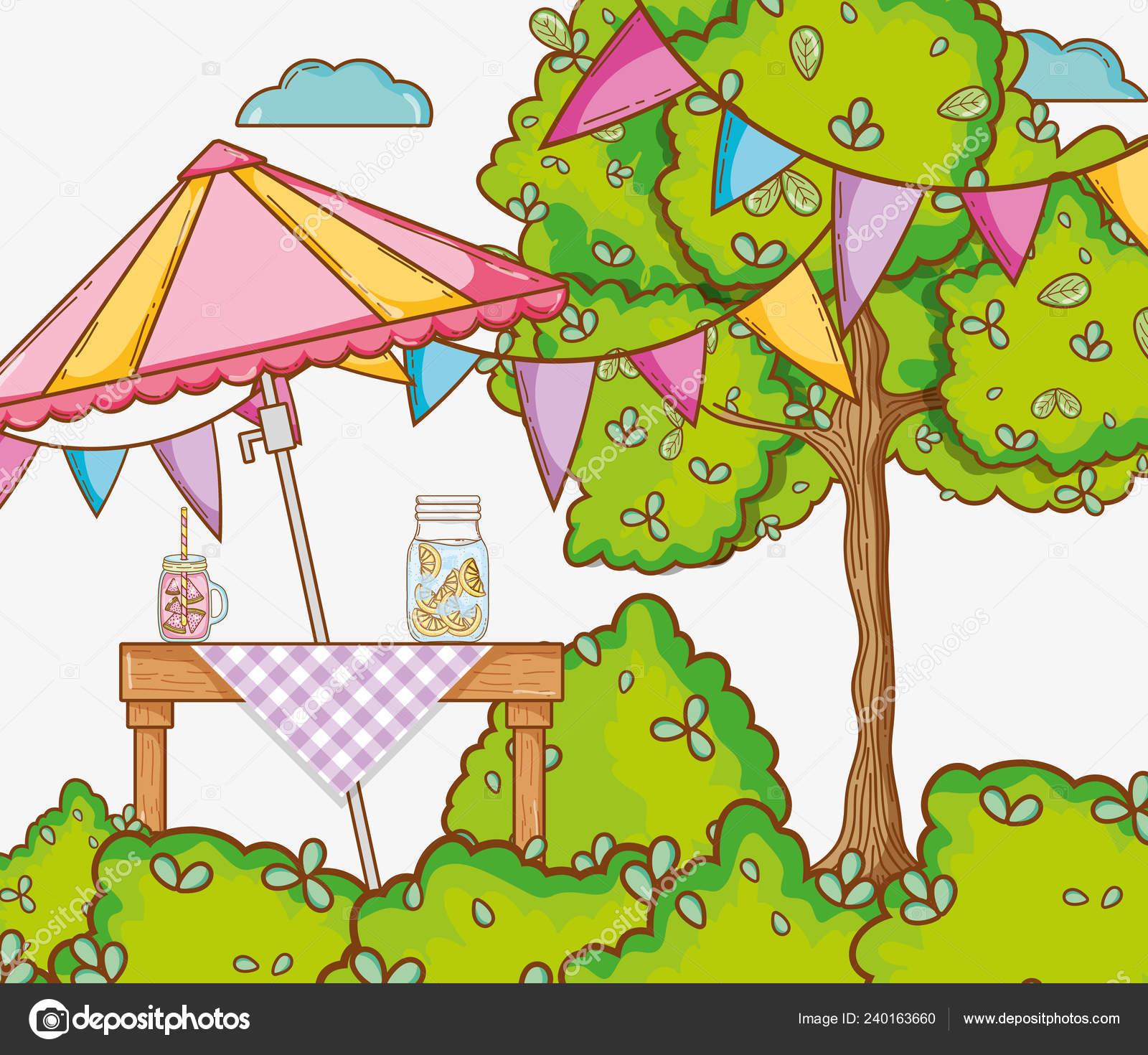 Garden party cartoon image.