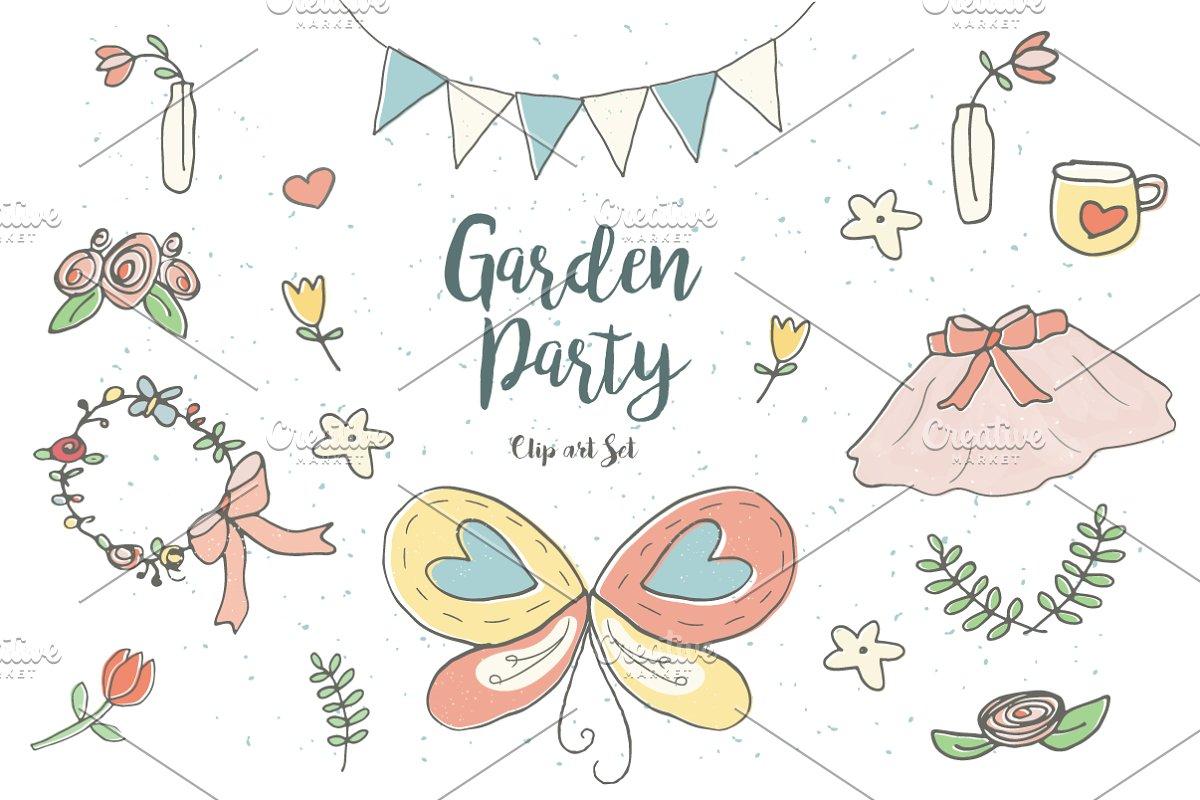 Garden Party Clip Art Set.