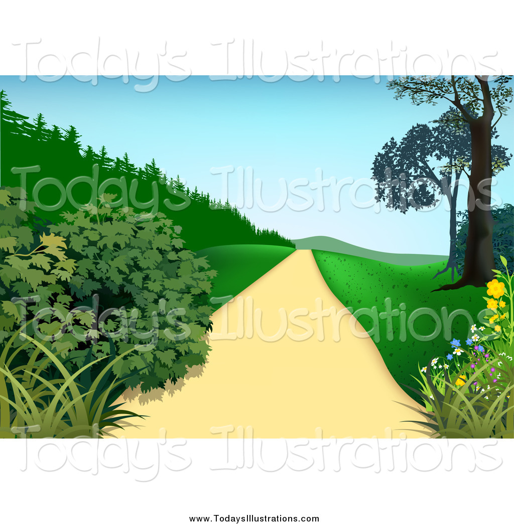Clipart of a Path with Bushes Trees and Hills by dero.
