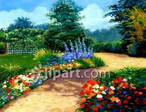 Path Through Flowers Royalty Free Clipart Picture.