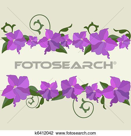 Clipart of Garden flowers frame. k6412042.