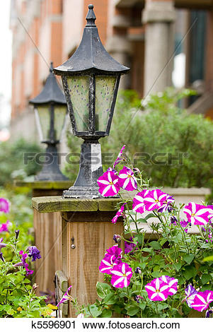 Stock Photography of Classic garden lamp with blooming Petunia.