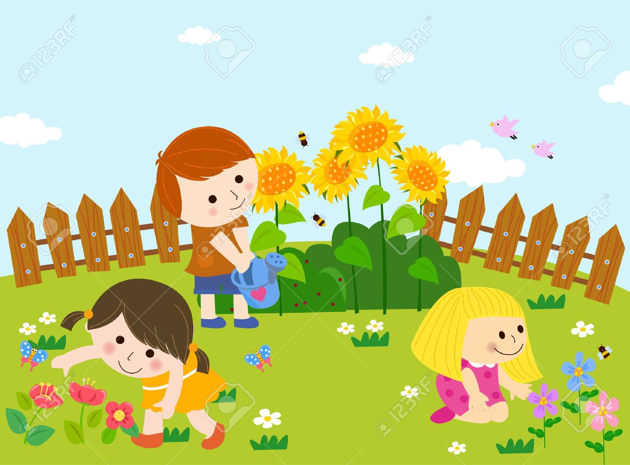 Kids Playing In Garden Clipart.