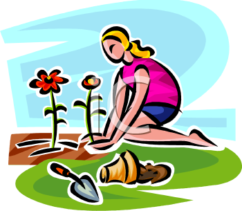 Woman Planting Flowers Clipart.
