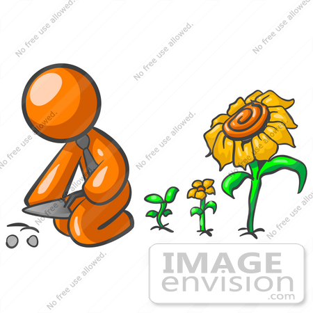 Clip Art Graphic of an Orange Guy Character Planting Seeds In A.