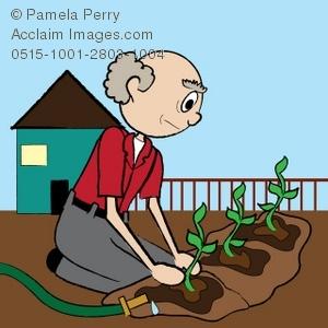 Clip Art Illustration of an Old Man Planting a Garden.