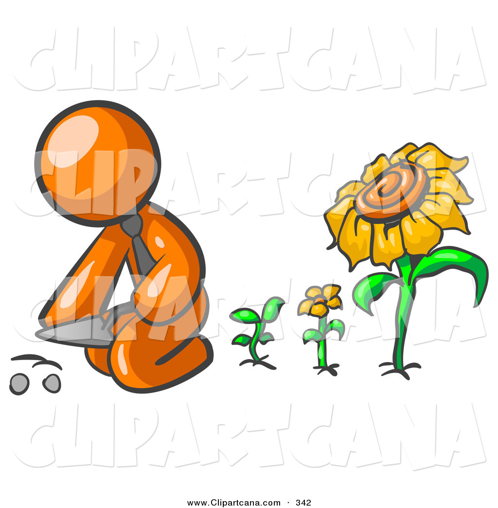 Vector Clip Art of an Orange Businessperson Kneeling by Growing.