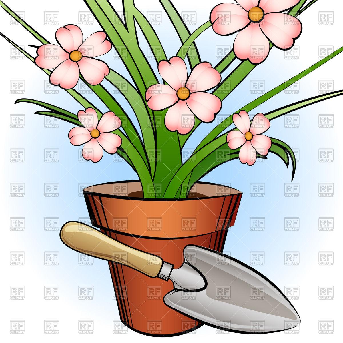 Window plant and garden shovel Vector Image #44204.