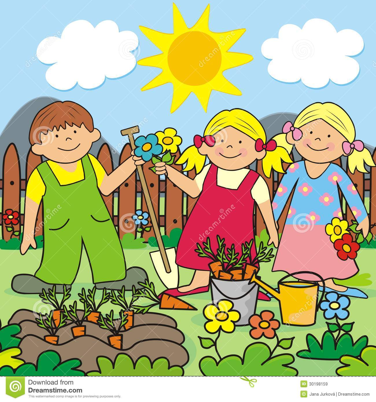 Kids And Garden Royalty Free Stock Images.
