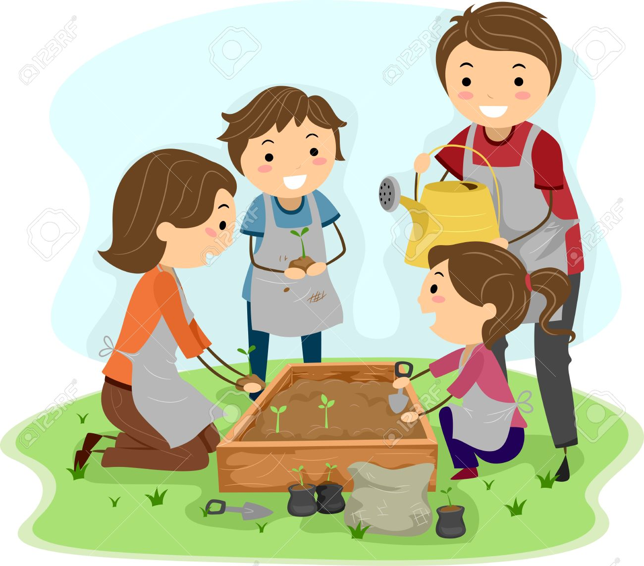 Illustration Of A Family Planting Plants Together Stock Photo.
