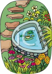 Clipart Picture of a Garden Pond.