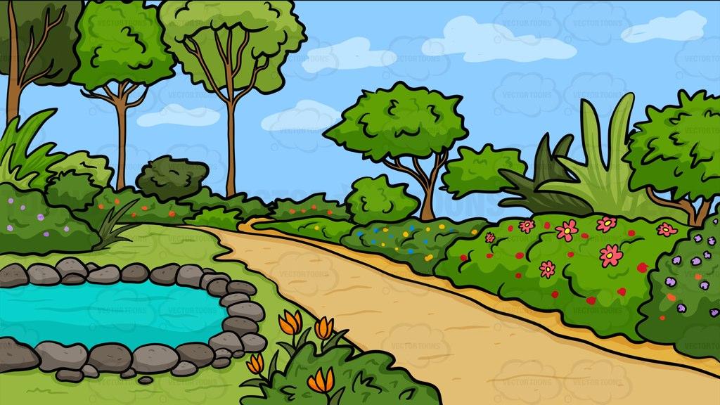 A country garden with pond background vector clip art cartoon.