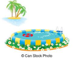 Vector Clipart of outdoor pool in the garden or park csp8918030.