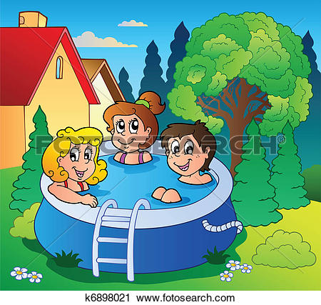 Clipart of Garden with three kids in pool k6898021.
