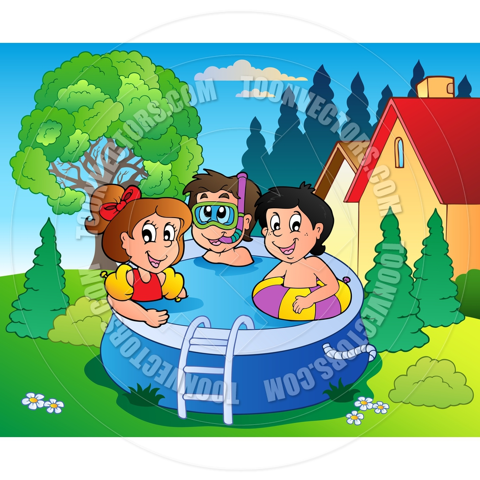 Cartoon Garden with Pool and Kids by clairev.