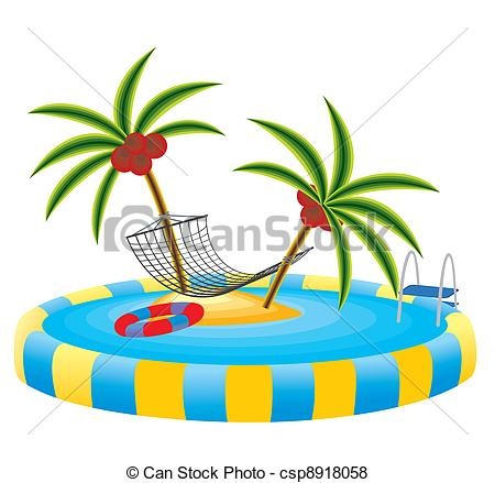Vector of outdoor pool and tropical island.