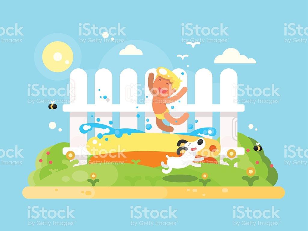 Little Boy In Garden Pool Having Fun stock vector art 543585522.