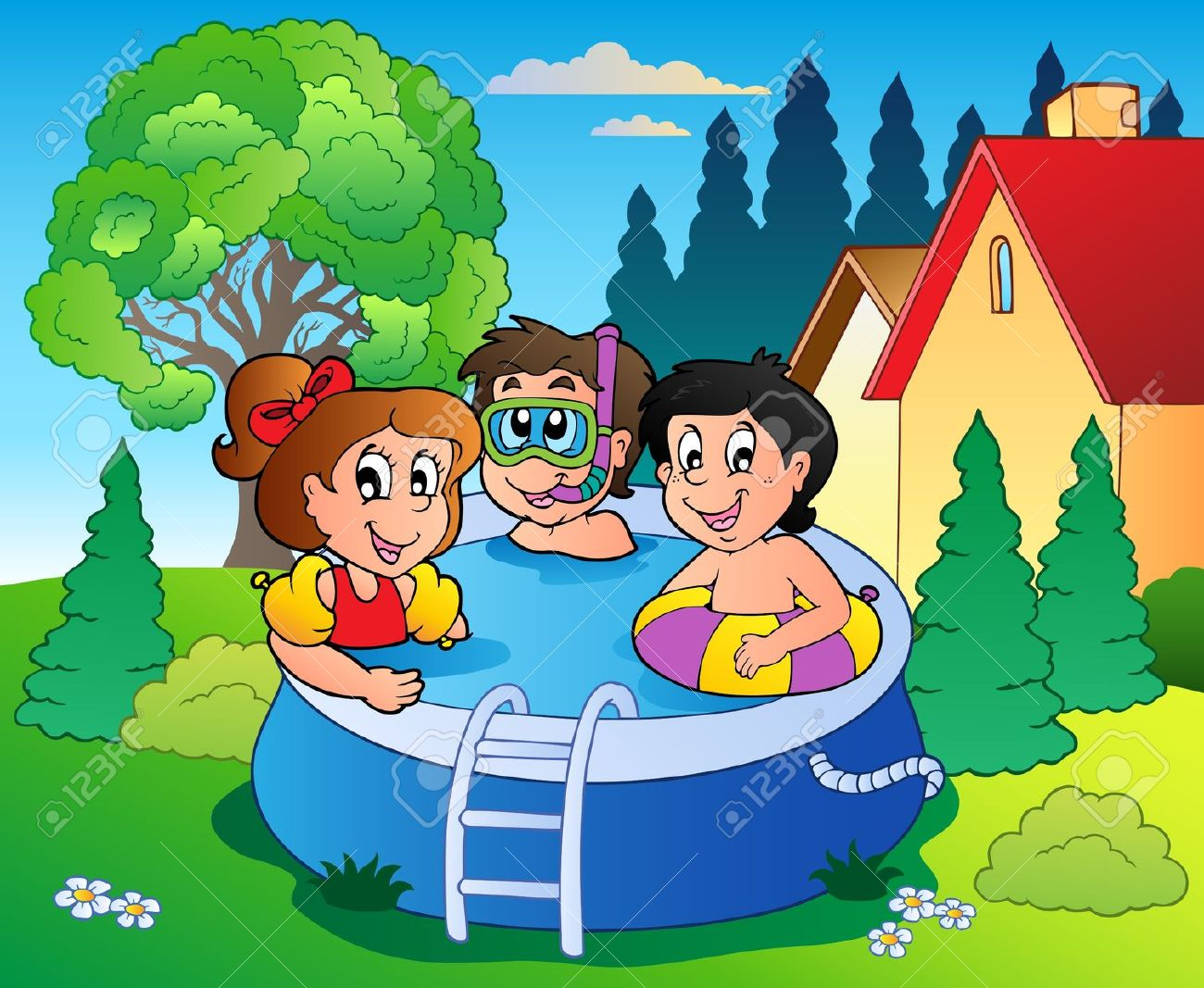 Backyard pool clipart.