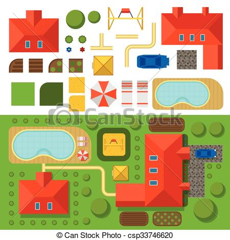 Vector Illustration of Plan of private house with garden, pool and.