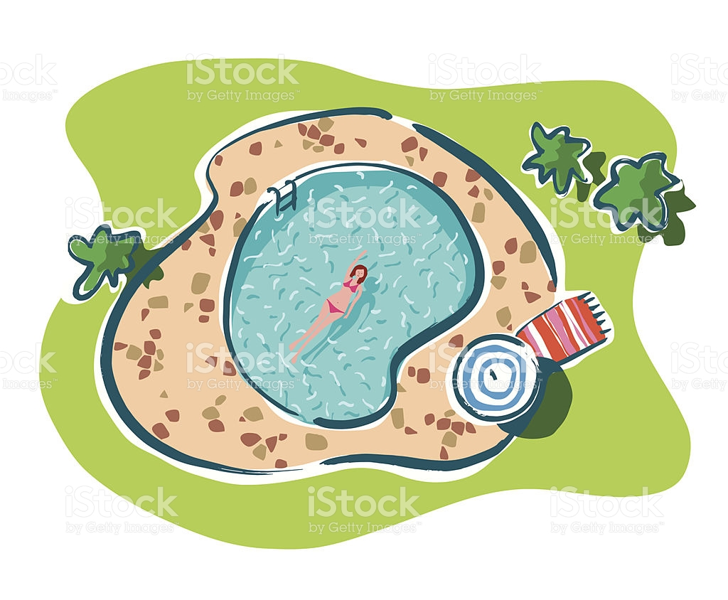 Aerial View Of A Woman Swimming In A Garden Pool stock vector art.