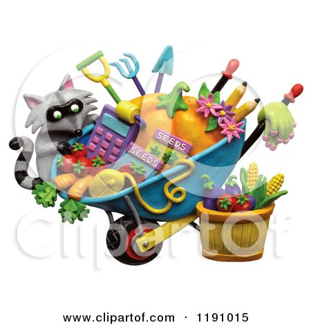 Clipart of a Raccoon and a Wheelbarrow of Gardening Tools and.