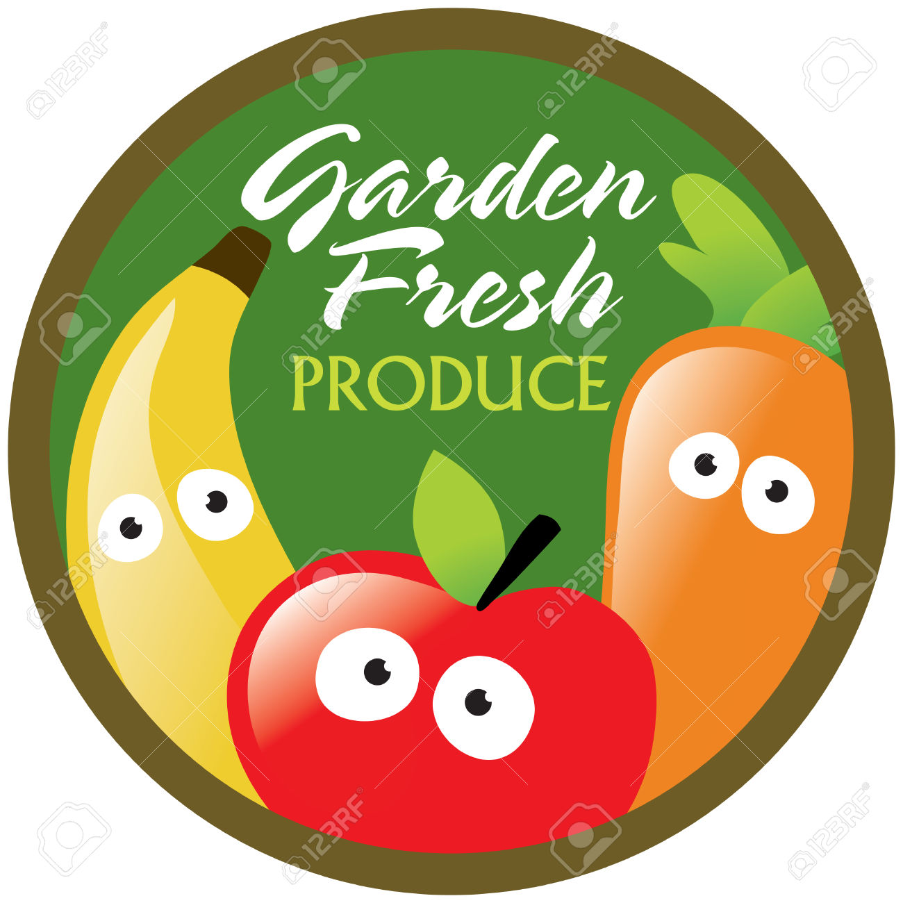 Garden Fresh Produce Label/sticker Royalty Free Cliparts, Vectors.