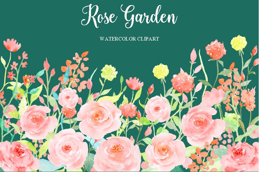 Watercolor Clipart Rose Garden by Cornercroft.