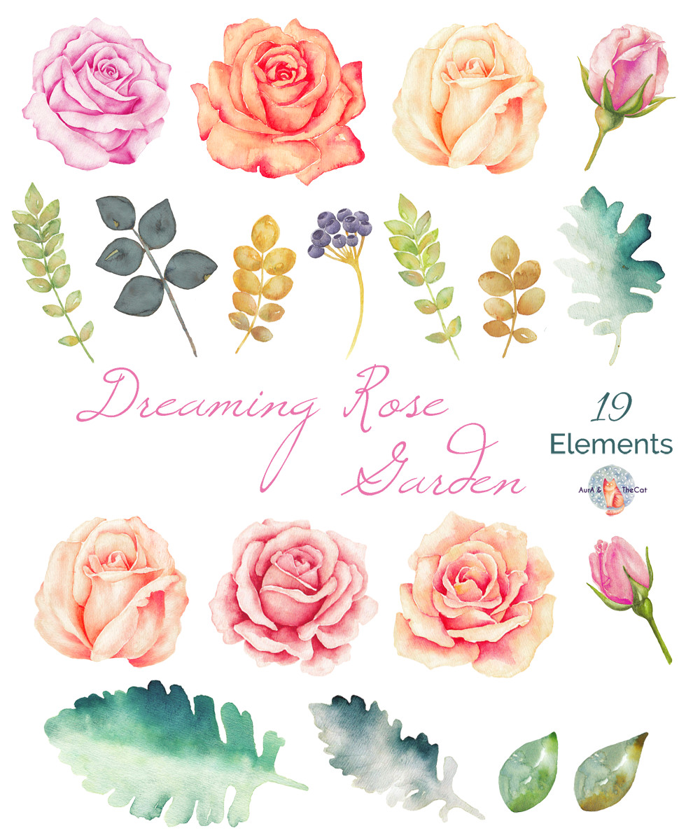 Dreaming Rose Garden Watercolor Clipart by AurAandTheCat.