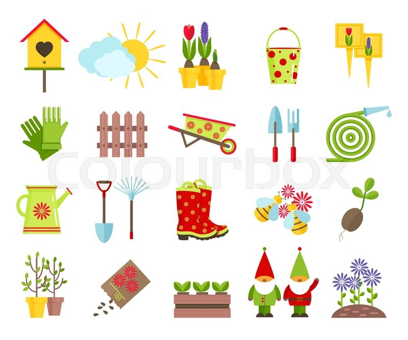 Garden tools and other elements of gardening flat icons set.Garden.
