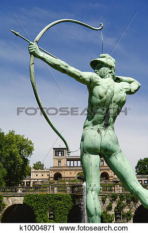 Stock Photography of Sanssouci garden sculpture of archer in.