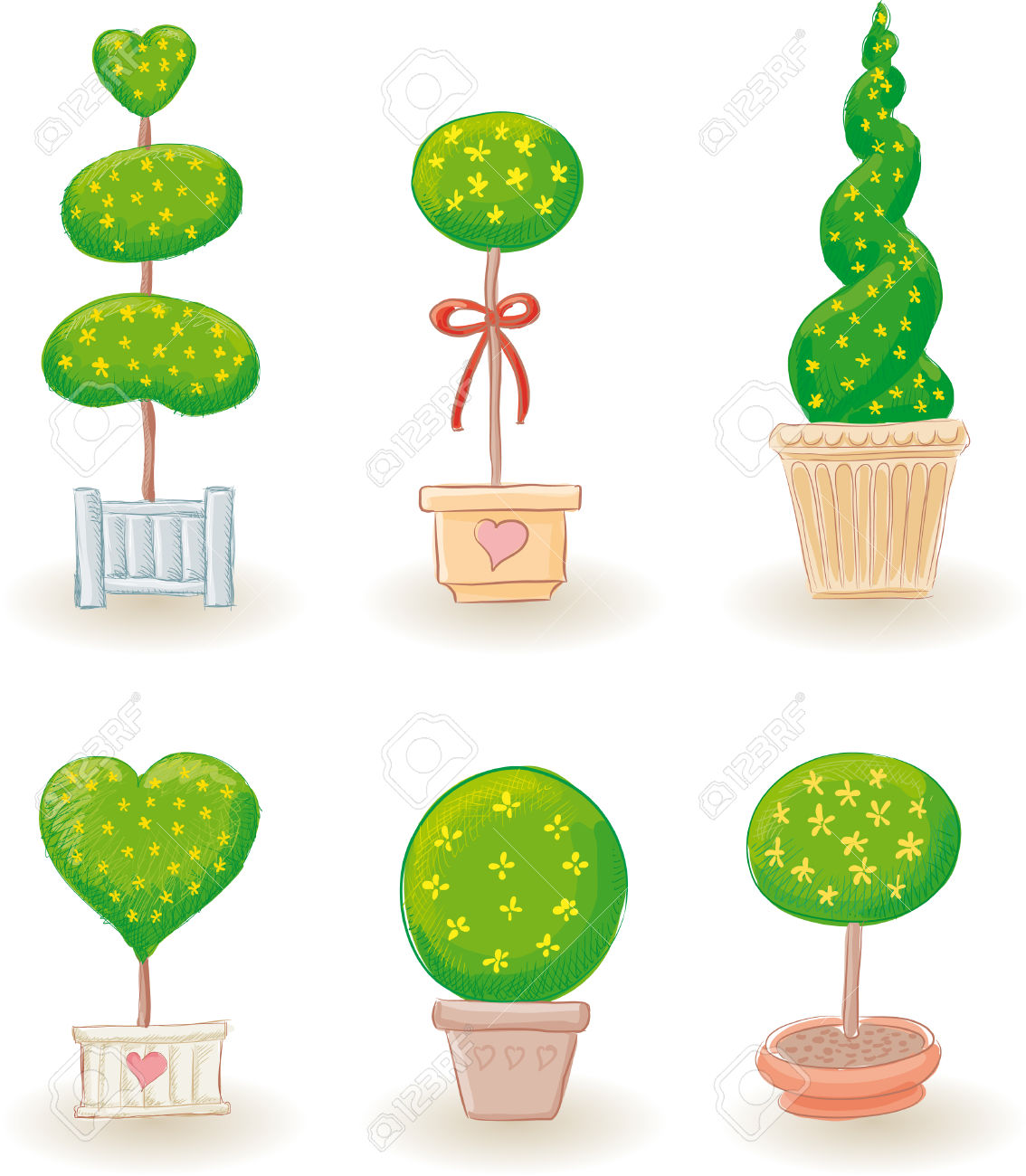 Six Typical Little Garden Trees In Various Shapes.