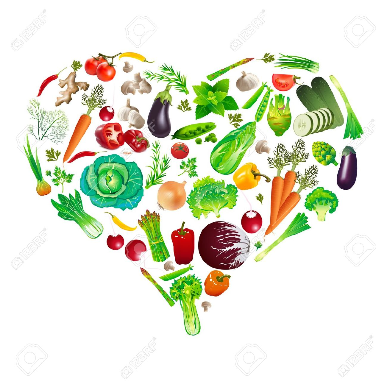 Heart Shape By Various Vegetables Royalty Free Cliparts, Vectors.