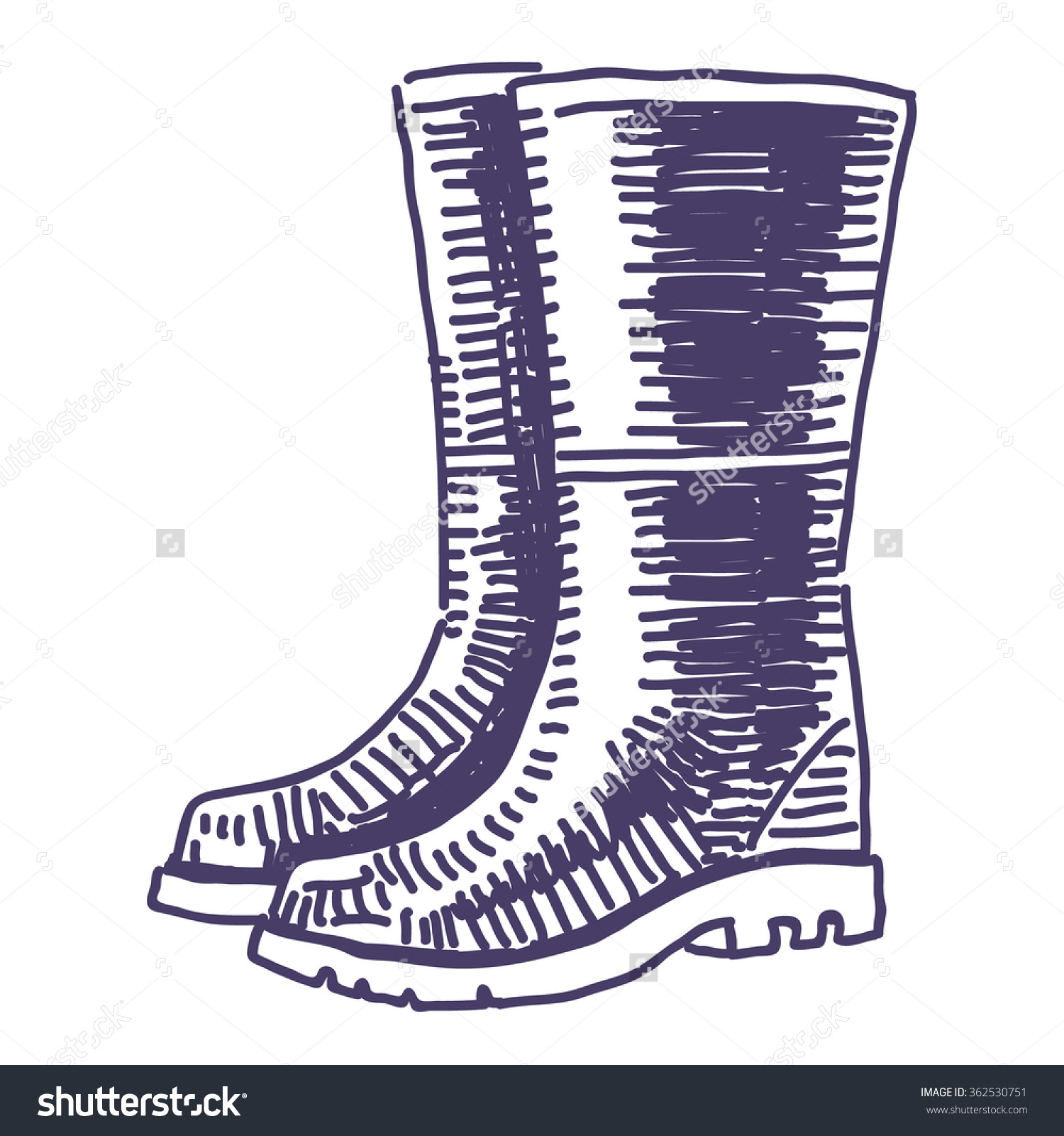 Rubber Garden Shoes Vector Drawing.