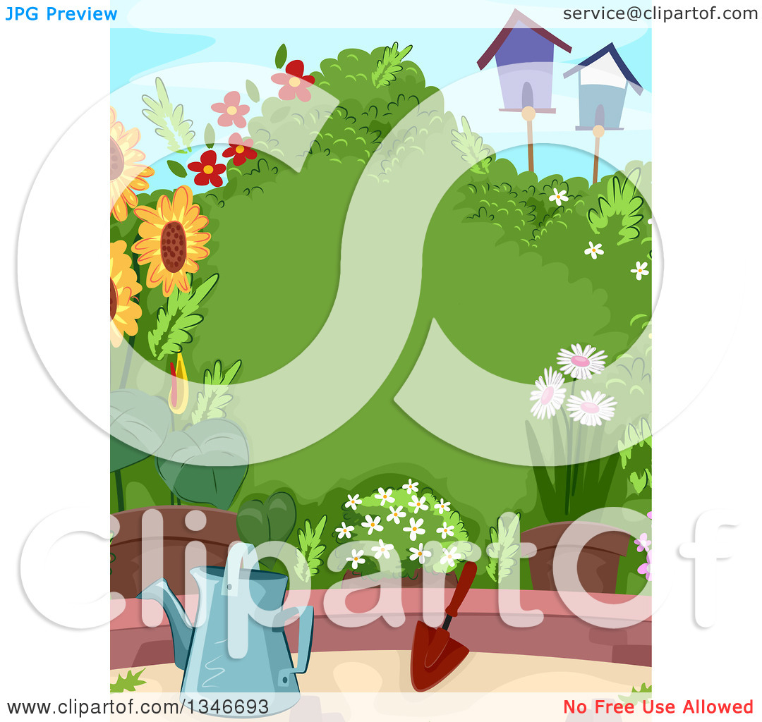 Clipart of a Lush Garden with a Watering Can, Trowel, Flowers.