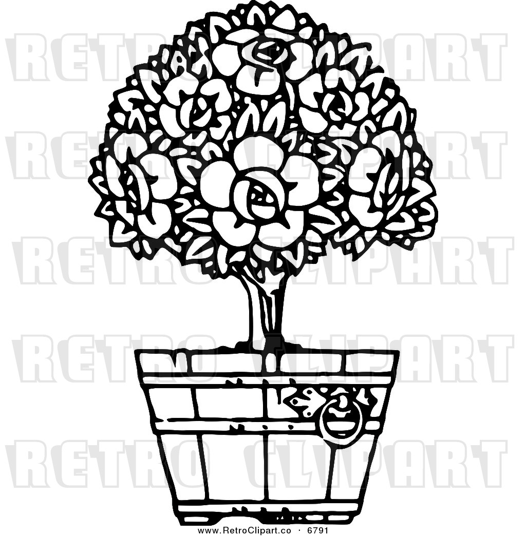 Retro Black And White Gardening Clipart Royalty Free Garden Stock.